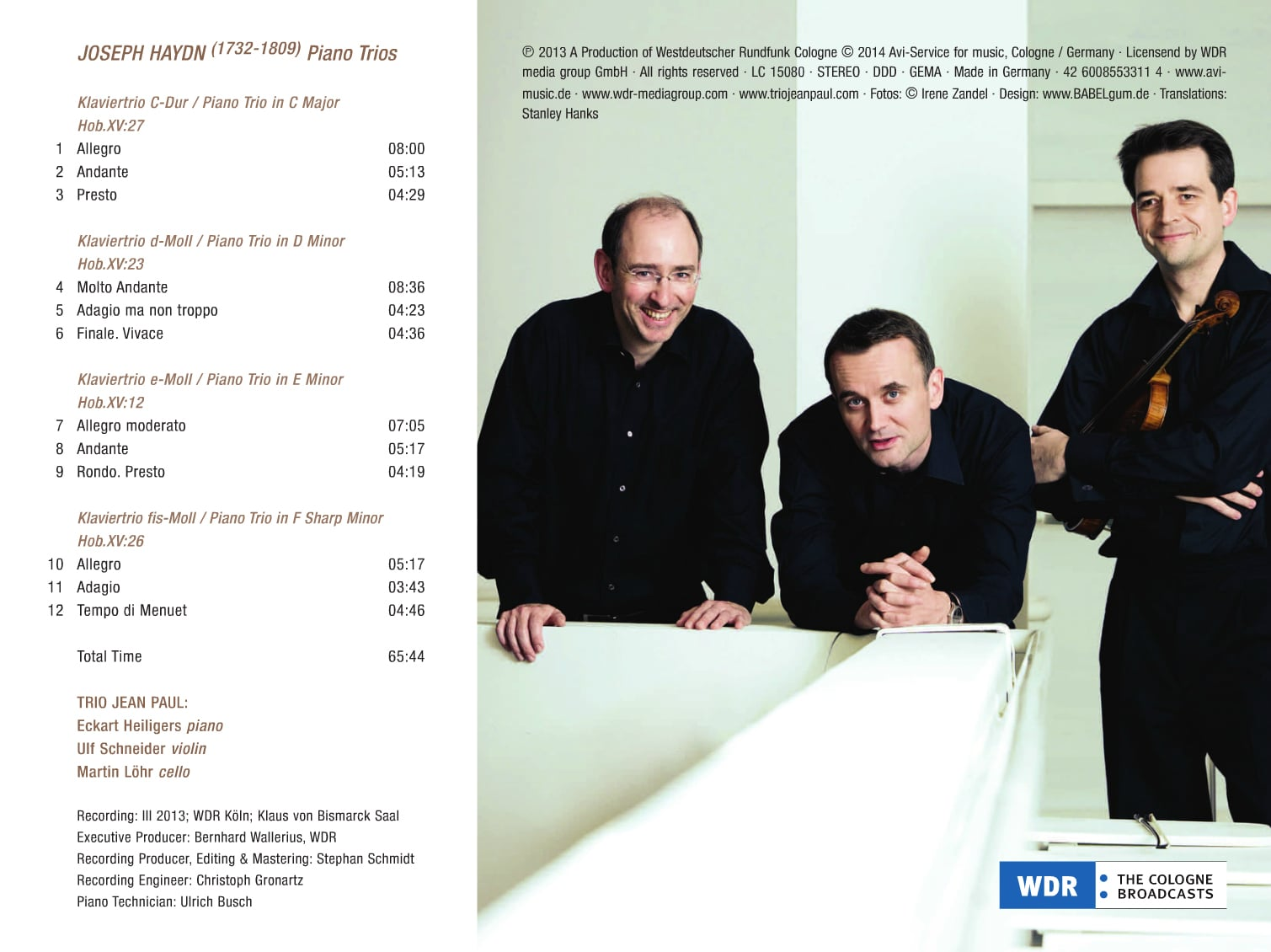 "Inlay ""Trio Jean Paul: Haydn Piano Trios"", Seite 2. © 2014 Avi-Service for music, Cologne / Germany ・ Licensend by WDR media group GmbH ・Fotos © Irene Zandel ・ Coverdesign: www.BABELgum.de"
